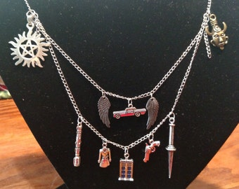 Super Who necklace for lovers of both Supernatural and Dr. Who. This piece was designed for fans of both.