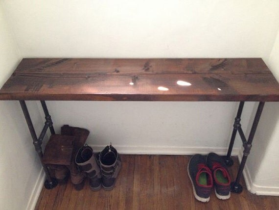 Modern Black Iron Pipe Bench Entryway Table Limited By