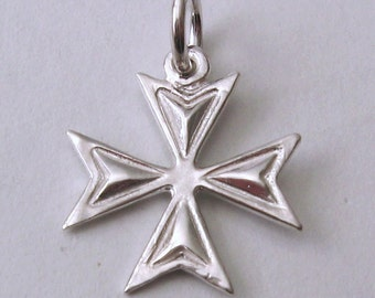 Genuine SOLID 925 STERLING SILVER 3D Maltese Cross charm/pendant