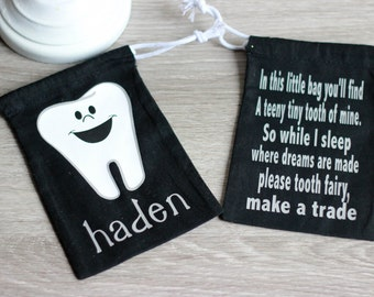 Tooth Fairy Bag, Tooth Holder, Tooth Fairy Pouch, Personalized Tooth Bag, Tooth Keepsake