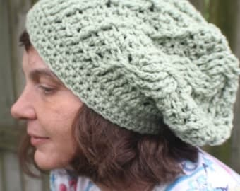 Green Cable Crocheted Slouchy Hat