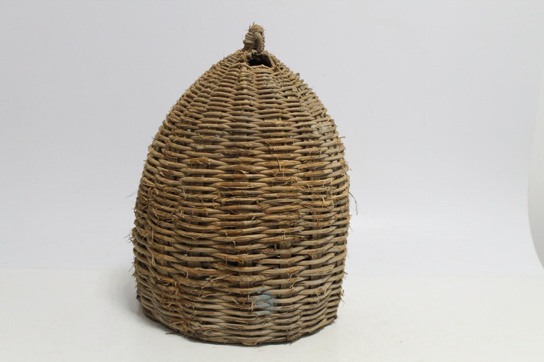 Antique primitive old handmade woven wicker bee skep - Wicker beehive basket ...