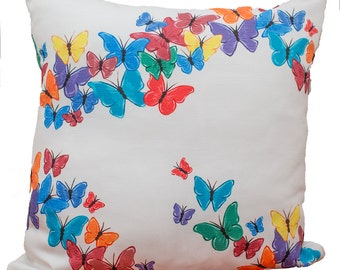 Cream and Brights Butterfly Cushion