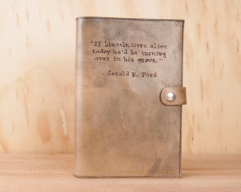 Personalized Leather Journal - Handmade Notebook with Custom Inscription in the Typeset Pattern - Antique Brown