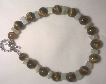 Tigers Eye and Moonstone bracelet by MyCrystalCreations