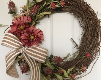 Wreath with red flowers