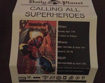 Spider-Man Custom Made Invitations