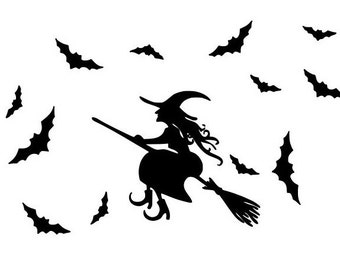 Bat and Witch flying on a broom Decal