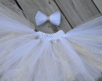 White and Sparkly Gold Baby/Toddler Tutu