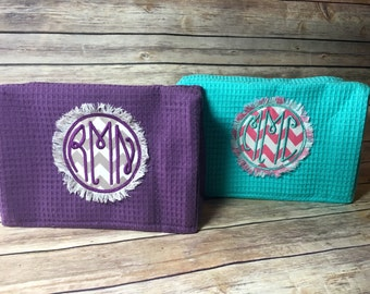 personalized cosmetic bag frayed patch - ships in two business days, complimentary gift bag/tissue paper/tag