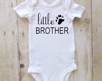 Little brother shirt - bear paw little brother shirt - little brother bodysuit - boho baby boy - baby boy clothes - newborn baby clothes