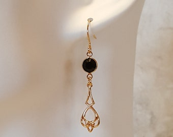 Crystal earrings, delicate filigree earrings, jet black, ebony, Swarovski crystal, gold plated
