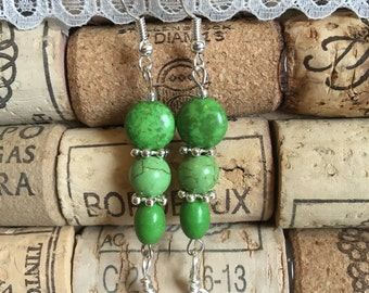 Green howlite bead earrings