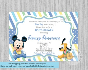 Disney Baby Mickey Mouse Baby Shower Invitations, Mickey Baby Shower Stripes Invitations, Baby Mickey Pluto Baby Shower Invitations