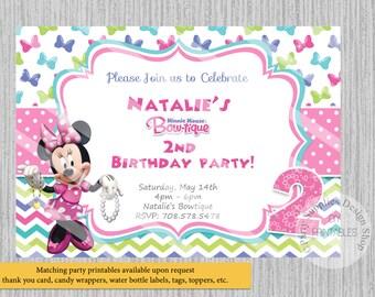 PRINTED or Digital Bowtique Minnie Mouse Birthday Invitations, Minnie Mouse Party Supplies, Disney Minnie Printable Invitations, Chevron