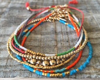 Summer Bracelet Stack/Gold, Blue, Coral, Orange, Green, White/Boho
