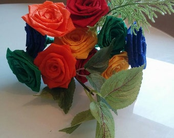 Colorful Crepe paper roses