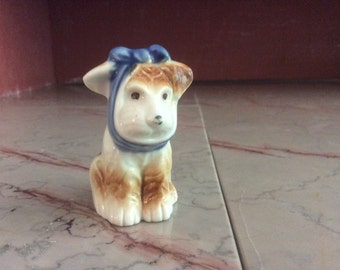 Puppy with a Toothache Porcelain Figurine - Vintage - Japan