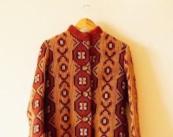SALE Vintage Patterned Knit Coat