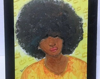 Afro Girl - Acrylic Painting on Canvas Board (SALE)