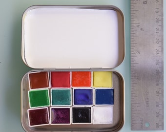 Watercolor handmade paint- 12 half pans of your choice travel tin kit - Comes with free waterbrush and tin