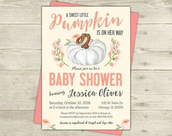 Fall Baby Shower Invitation, Pumpkin Baby Shower Invitation, Gender Neutral, Little Pumpkin, Pumpkin, Coral