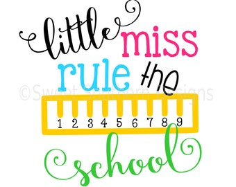 Little miss rule the school ruler back to school SVG DXF instant download design for cricut or silhouette