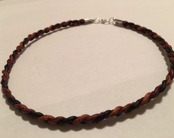 Braided Leather multi brown colored choker!