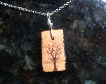 Woodburned tree pendant and chain