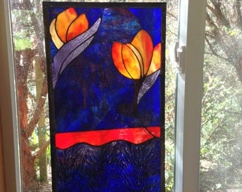 "Orange Tulips on Indigo - 11.25"" width x 22"" height"