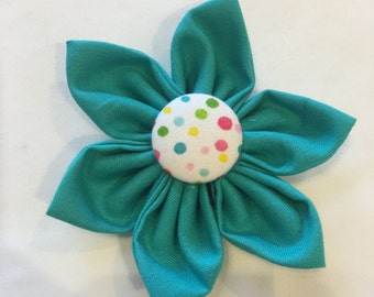 Teal Polka Dot Flower