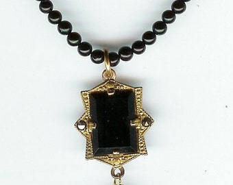 VINTAGE Black Glass  Marcasite Gold tone Pendant & Black Onyx Bead Necklace