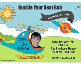 Helicopter Birthday Invitation, Custom Photo Birthday Invitation, Personalized Birthday Invitation