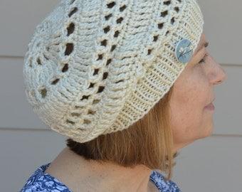 Cream Slouchy Hat