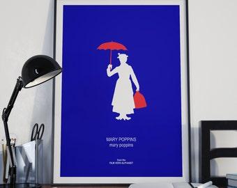 MARY POPPINS minimalist poster print, Julie Andrews, blue wall art, Film Hero Nanny, musical fantasy disney Nursery Children's Room Decor