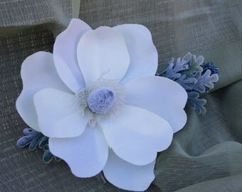 Ivory and Blue Floral Hair Comb