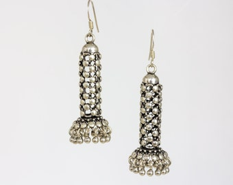 Ethnic silver minaret earrings