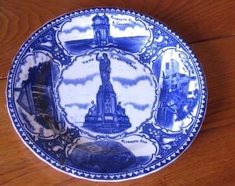Plymouth Mass Flow Blue Commemorative Plate