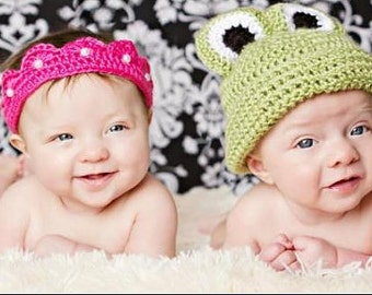 Crochet Princess and The Frog, Princess Crown, Twin Hats, Twin Beanies