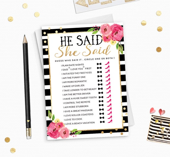 He Said She Said Gold Foil Chic Bridal Shower Game Printable - Black Stripes and gold Game
