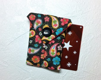 Cute Paisley & Flowers Fabric Business Card Pouch / Credit Card Pouch / Gift Card Holder