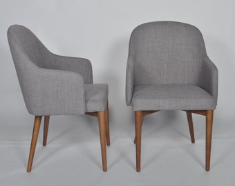 Set of 2 Mid Century Modern Dining Chair Gray Upholstered