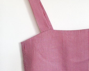 Red white stripe crop top with tie back