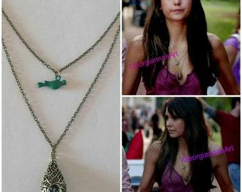 The vampire diaries jewelry - Elena Gilbert's necklace - Elena's bird necklace - Elena's first day at college - Katherine Pierce