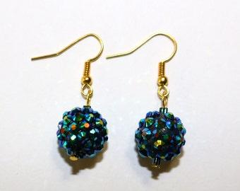 Blue Sparkle Orb Earrings