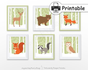 SALE 35% - PRINTABLE Woodland nursery wall art, Woodland animals print, Woodland nursery decor, Baby art prints, Animals set of 6 prints