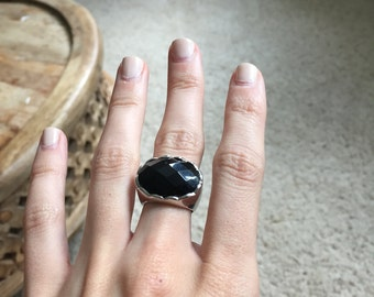 Scalloped Black Onyx Ring