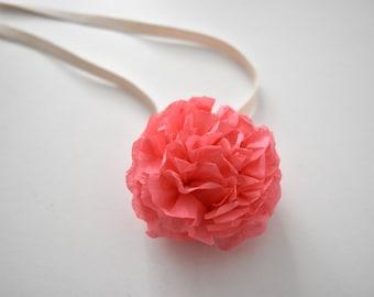 Pom Pom Wrist Corsage - for Bridesmaid + Bridal Party - Coral