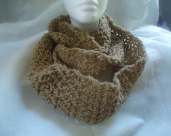 Handmade crocheted oatmeal infinity scarf