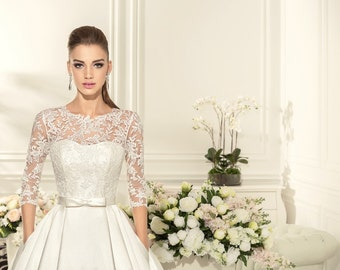 Wedding Dress Contika, Long Sleeve Wedding Dress, Lace Wedding Gown, Princess Wedding Dress, Satin Wedding, Romantic Gown